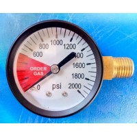 0 - 2000 PSI High Pressure Gauge Right Hand