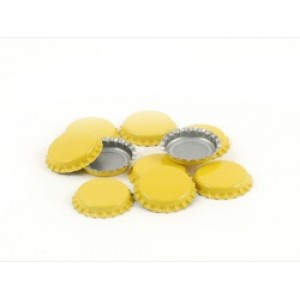 Bottle Caps Plain Yellow  144/bag