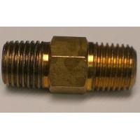 Hex Nipple 1/4 - left hand thread (regulator) brass
